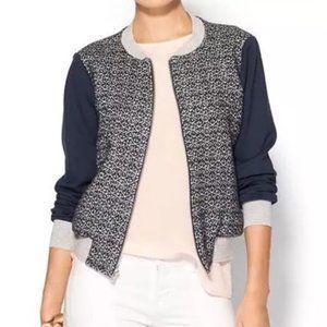 Amour Vert Zip Front Art Bomber Jacket Varsity Style Wool & Cashmere Blend